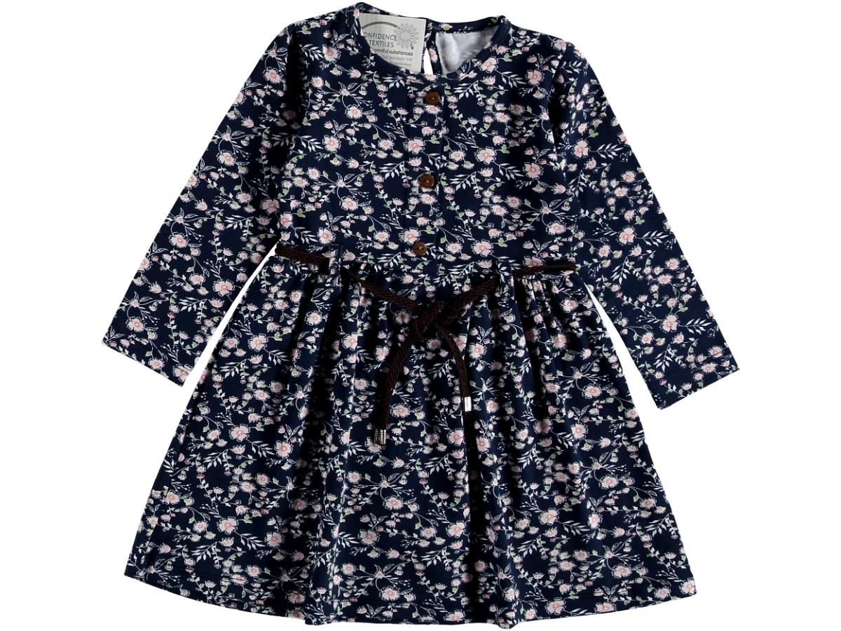 Платье 6/9 лет синее в цветочек на пояске 317064