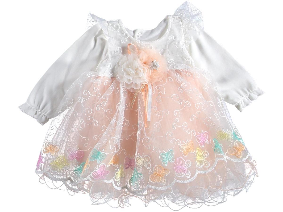 Платье нарядное 6-9 мес пышное персиковое 316584