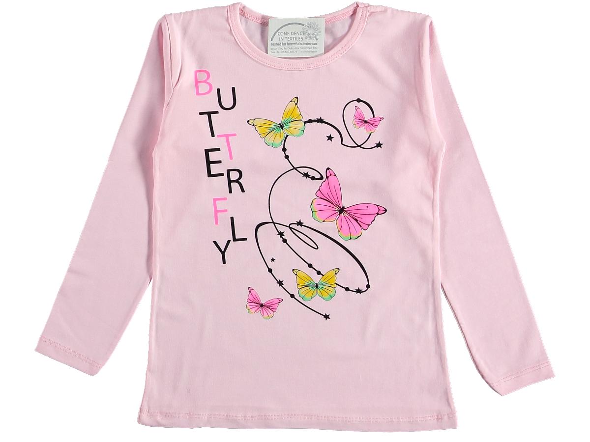 Кофта трикотаж с бабочками 5/9 лет розовая 317444